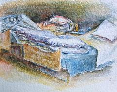 'Hospital bed, no. 17' - watercolor painting on paper, by Hubertine Heijermans  22x30 cm.JPG