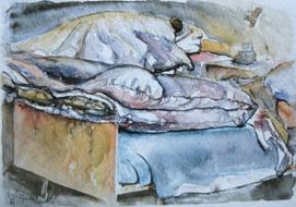 'Hospital bed, no. 4' - watercolor painting on paper, by Hubertine Heijermans  22x30 cm.JPG