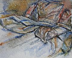 'Hospital bed, no. 36' - watercolor painting on paper, by Hubertine Heijermans  22x30 cm.JPG