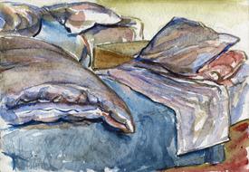 'Hospital bed, no. 34' - watercolor painting on paper, by Hubertine Heijermans  22x30 cm.jpg