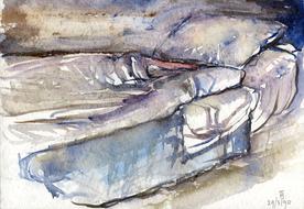 'Hospital bed, no. 35' - watercolor painting on paper, by Hubertine Heijermans  22x30 cm.jpg