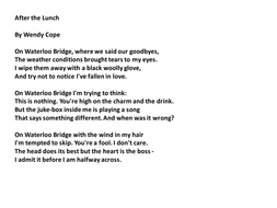 After the Lunch by Wendy Cope - Analysis