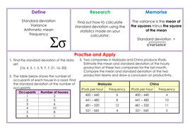 Standard Deviation Homework by mrsmorgan1 - Teaching Resources - Tes