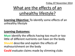 What are the effects of an unhealthy lifestyle?