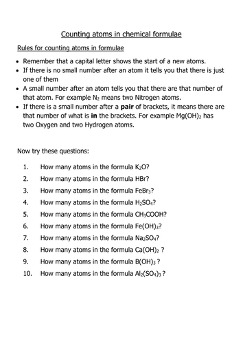 Number Of Atoms In A Formula By Mramazing Teaching Resources Tes