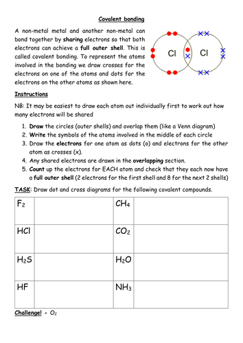 Covalent bonding worksheet by kates1987 - Teaching Resources - Tes