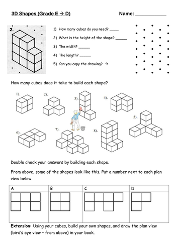 Plan And Front Elevation Gcse Maths : D views of shapes by ttxtoma teaching resources tes