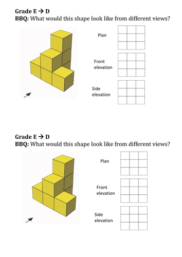 Plan And Front Elevation Of A Solid Shape : D views of shapes by ttxtoma teaching resources tes
