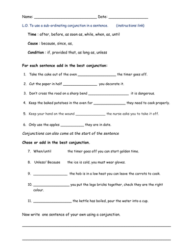 Worksheets Conjunctions Worksheet subordinating conjunctions by bethrob teaching resources tes au2 wk 3 ma docx