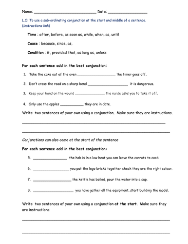 coordinating conjunctions lesson plan pdf