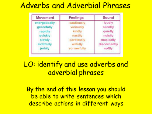 Adverbs And Adverbial Phrases Teaching Resources