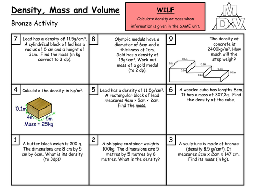 Density Mass and Volume Grade CB by arthompson1987 Teaching – Density Problems Worksheet with Answers