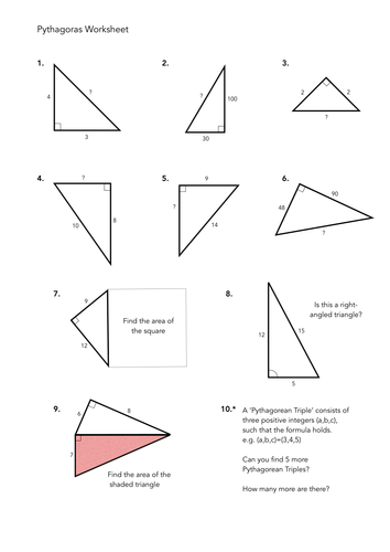 Worksheets Pythagorean Triples Worksheet pythagoras worksheets by jwmcrobert teaching resources tes worksheet 1 pdf