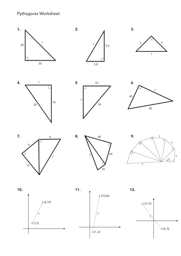 Worksheets Pythagorean Triples Worksheet pythagoras worksheets by jwmcrobert teaching resources tes worksheet 2 pdf