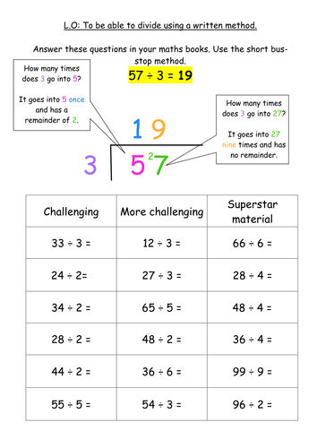 KS2 Division Written Method - Bus Stop Method by jodieclayton ...