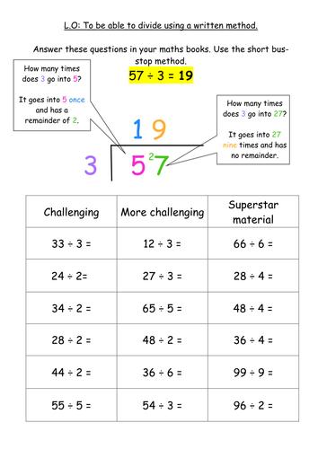 KS2 Division Written Method - Bus Stop Method by jodieclayton ...