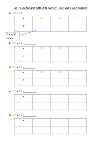 Grid Method Multiplication - Y3- 2014 curriculum by ...