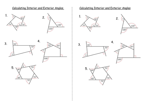 Worksheets Exterior Angles Of A Triangle Worksheet interior and exterior angles of polygons by clairelogan100 calculating doc