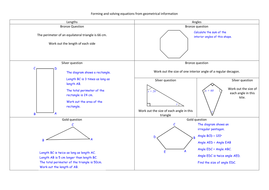 Writing And Solving Equations Using Geometry By Alicecreswick