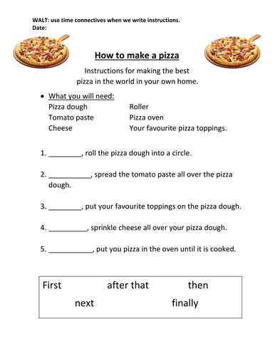 how to make a pizza instructions worksheets eal by kathryne 1176 teaching resources tes. Black Bedroom Furniture Sets. Home Design Ideas