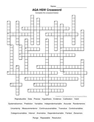 How Science Works (HSW) AQA Crossword by clairemcgurk