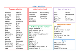 persuasive word list for elementary students