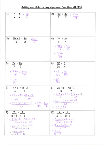 Adding Algebraic Fractions Worksheet & simplifying algebraic ...