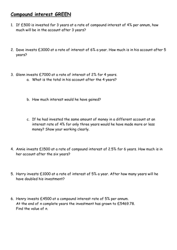 Worksheets Compound Interest Worksheet compound interest and depreciation by piximaths teaching resources tes