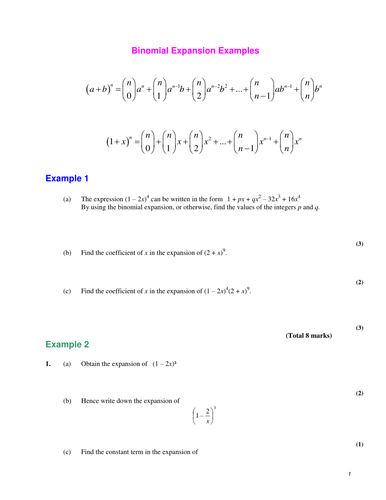 Worksheets Binomial Theorem Worksheet a level maths c2 binomial expansion worksheets by srwhitehouse teaching resources tes