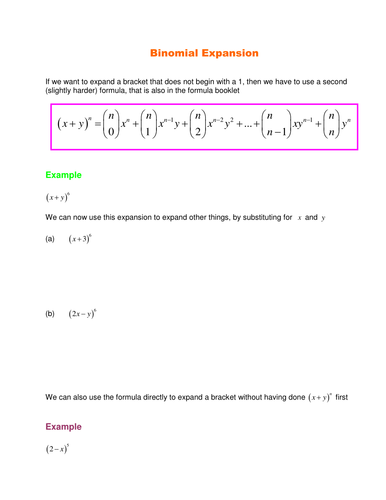 A Level Maths C2 Binomial Expansion Worksheets By Srwhitehouse