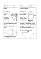 Area & Volume of pyramids cones spheres cylinders
