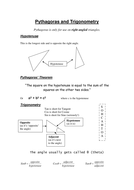 Pythagoras and Trigonometry review sheet