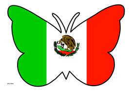 Butterfly Themed Flag of Mexico