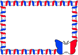 France Flag Themed Lined paper and Pageborders