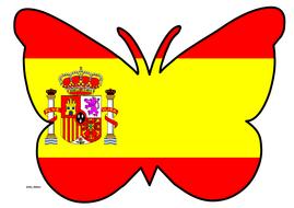 Butterfly Themed Spanish Flag