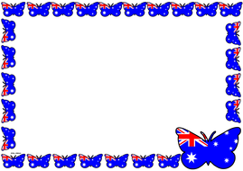 Australian Flag Themed Lined paper and Pageborders