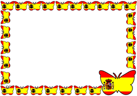 Spain Flag Themed Lined paper and Pageborders
