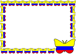 Colombia Flag Themed Lined paper and Pageborders