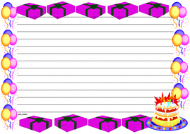 Birthday Themed Lined paper and Pageborders