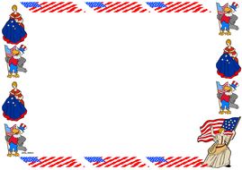 Flag Day Themed Lined Paper and Pageborders
