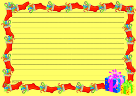 Christmas Themed Lined Paper and Pageborders