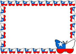 Chile Flag Themed Lined Paper and Pageborders