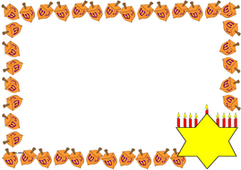 Hanukkah Themed Lined Paper and Pageborders