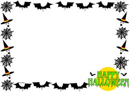 Halloween Themed Lined Paper and Pageborders