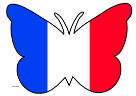 Butterfly Themed France Flag
