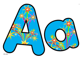 Stars Themed Alphabets and Numbers