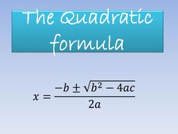 The Quadratic Formula PowerPoint