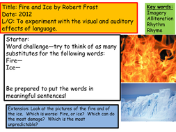 robert frost fire and ice by gradteacher teaching resources tes
