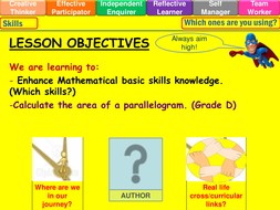 Area of a parallelogram lesson