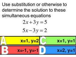 Starter on simultaneous equations